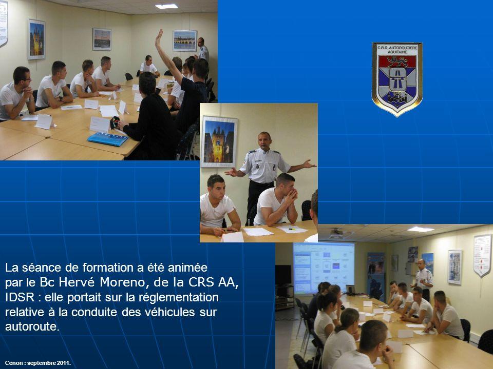 La séance de formation a été animée par le Bc Hervé Moreno, de la CRS AA, IDSR : elle portait sur la réglementation relative à la conduite des véhicul
