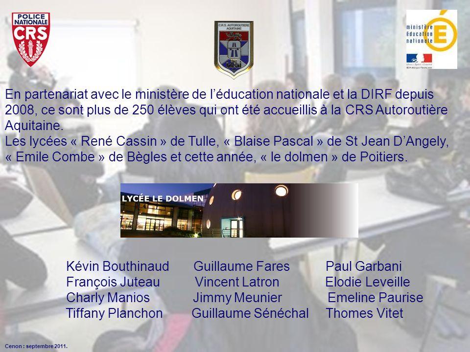 En partenariat avec le ministère de léducation nationale et la DIRF depuis 2008, ce sont plus de 250 élèves qui ont été accueillis à la CRS Autoroutiè