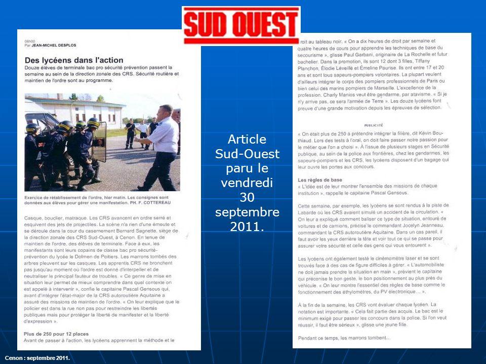 Article Sud-Ouest paru le vendredi 30 septembre 2011. Cenon : septembre 2011.