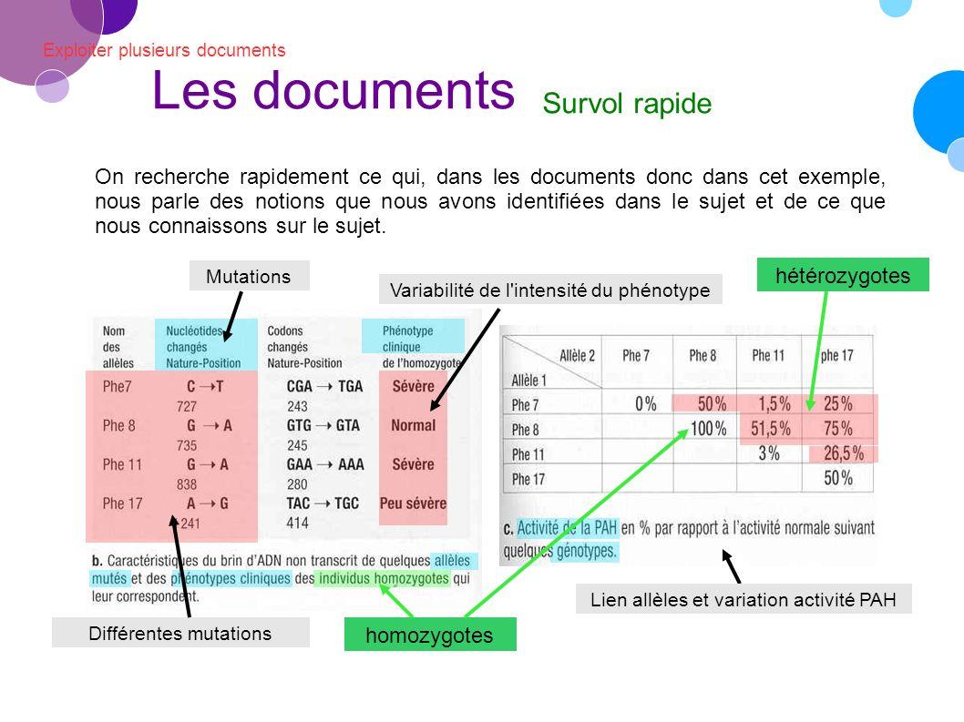 Exploiter plusieurs documents Les documents Survol rapide On recherche rapidement ce qui, dans les documents donc dans cet exemple, nous parle des notions que nous avons identifiées dans le sujet et de ce que nous connaissons sur le sujet.