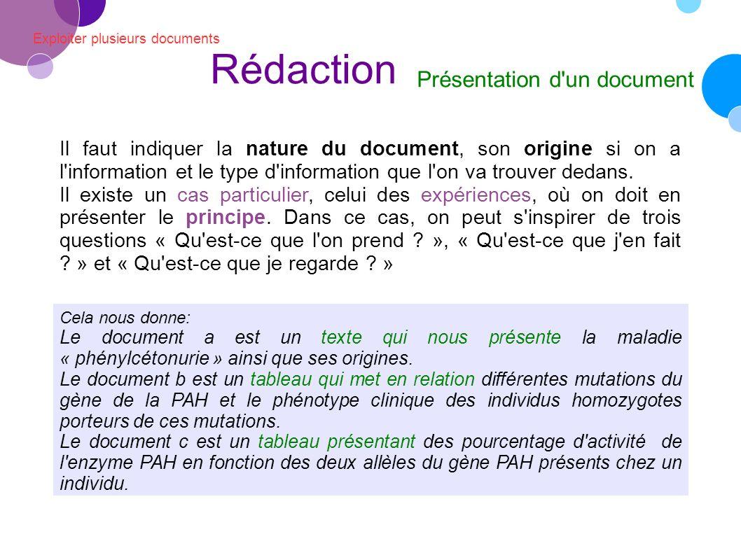 Exploiter plusieurs documents Rédaction Présentation d un document Il faut indiquer la nature du document, son origine si on a l information et le type d information que l on va trouver dedans.