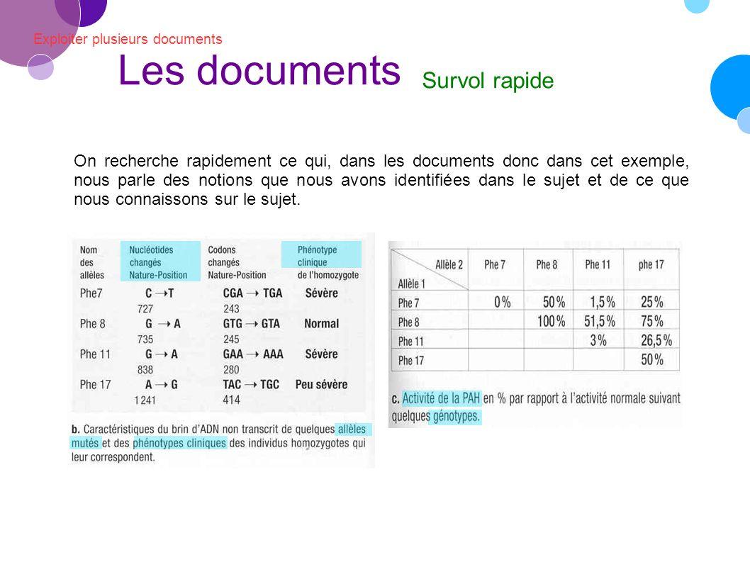 Exploiter plusieurs documents Les documents Survol rapide On recherche ensuite à quoi correspondent les différentes notions du sujet dans l exemple que nous devons traiter.