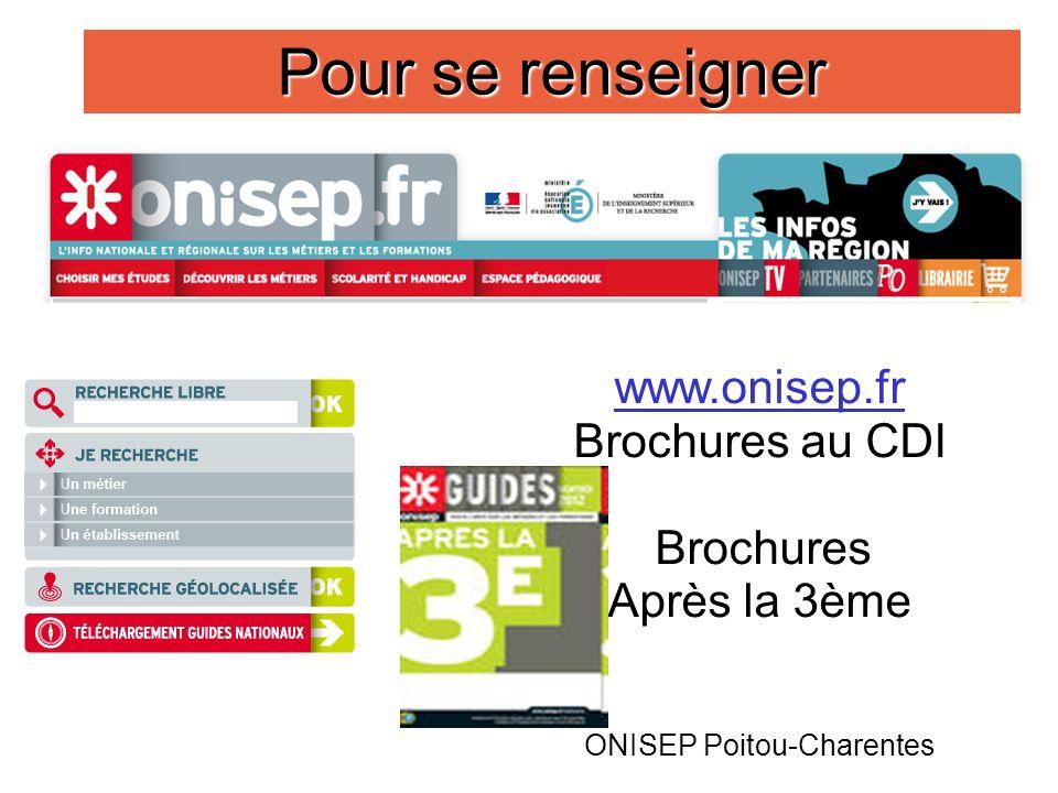 10 Pour se renseigner www.onisep.fr Brochures au CDI Brochures Après la 3ème ONISEP Poitou-Charentes