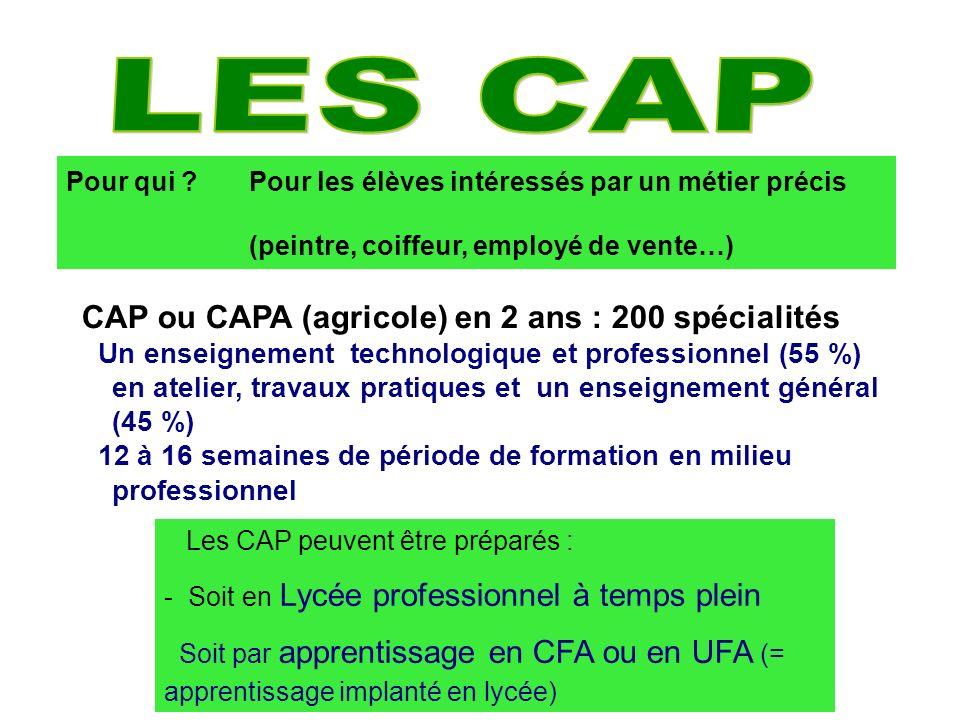 8 CAP ou CAPA (agricole) en 2 ans : 200 spécialités Un enseignement technologique et professionnel (55 %) en atelier, travaux pratiques et un enseigne