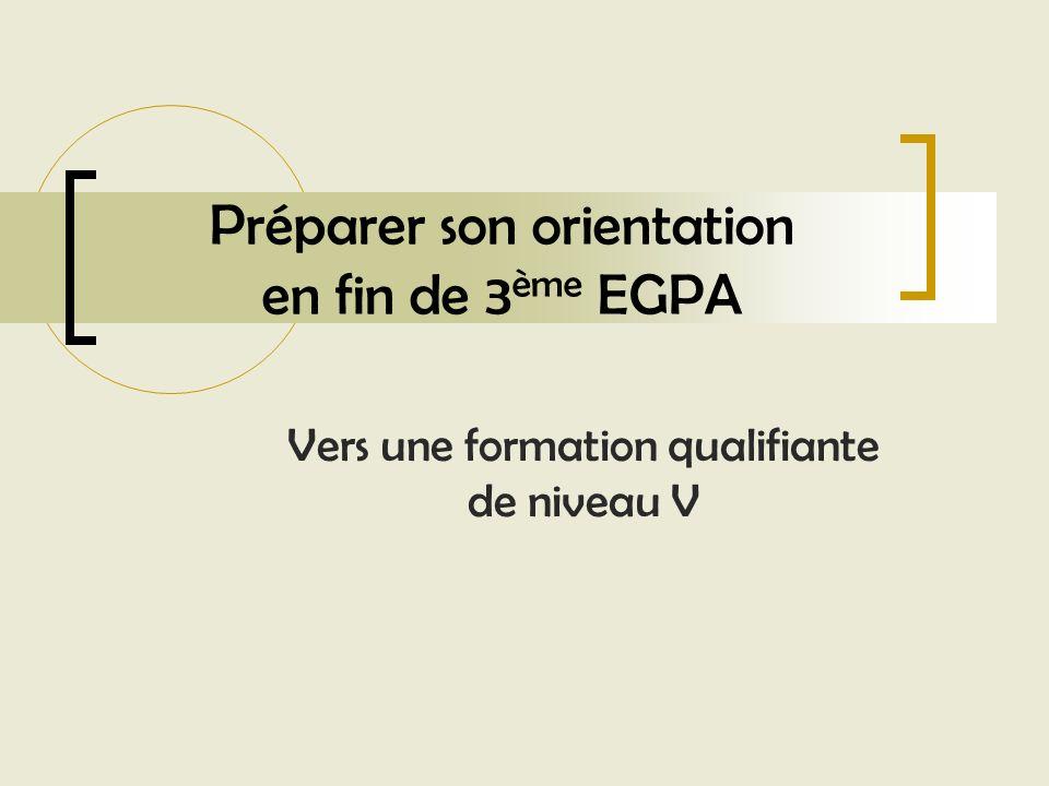 Préparer son orientation en fin de 3 ème EGPA Vers une formation qualifiante de niveau V