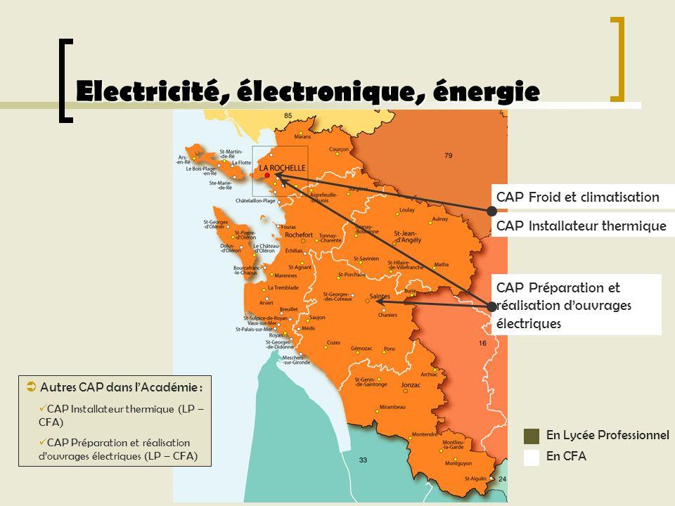Electricité, électronique, énergie Autres CAP dans lAcadémie : CAP Installateur thermique (LP – CFA) CAP Préparation et réalisation douvrages électriq