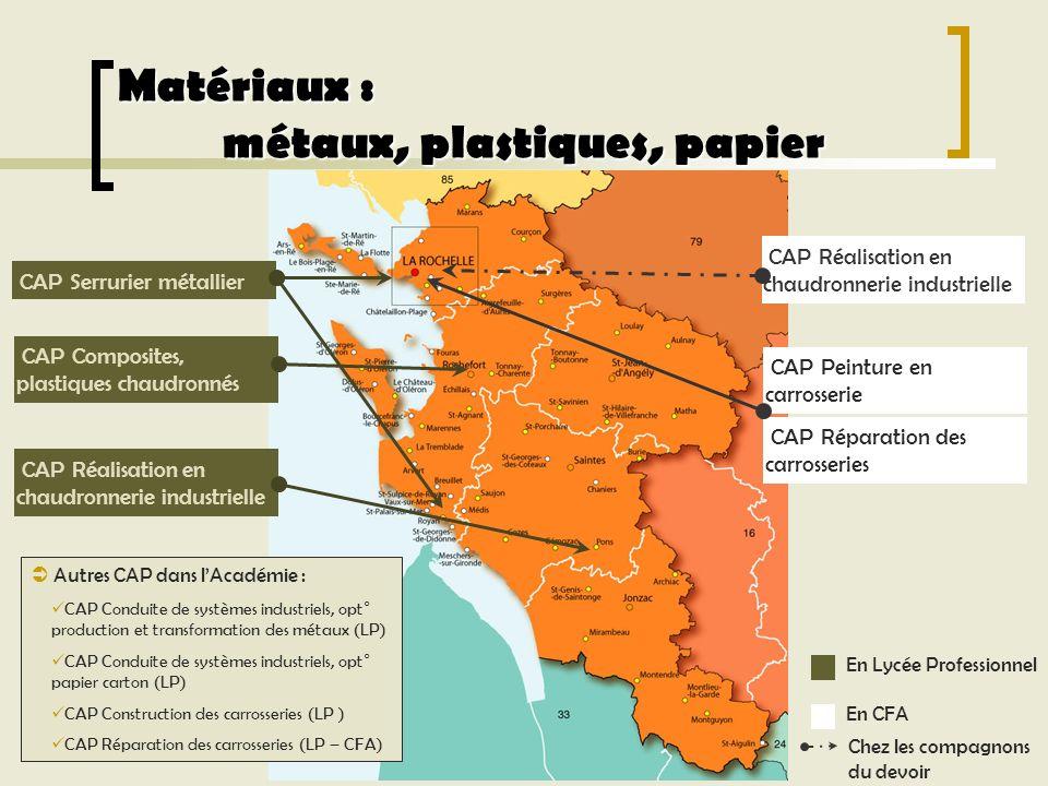 Matériaux : métaux, plastiques, papier CAP Serrurier métallier Autres CAP dans lAcadémie : CAP Conduite de systèmes industriels, opt° production et tr