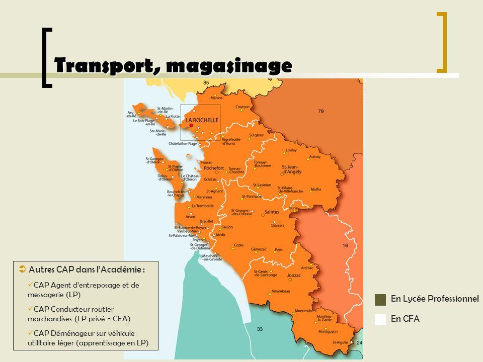 Transport, magasinage Autres CAP dans lAcadémie : CAP Agent dentreposage et de messagerie (LP) CAP Conducteur routier marchandises (LP privé - CFA) CA