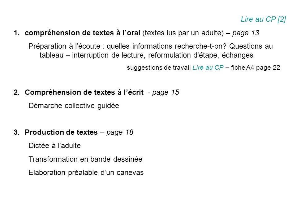 Lire au CP [2] 1.compréhension de textes à loral (textes lus par un adulte) – page 13 Préparation à lécoute : quelles informations recherche-t-on.