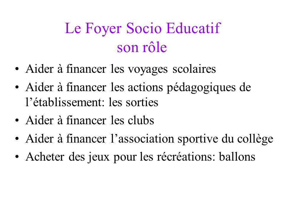 Le Foyer Socio Educatif son rôle Aider à financer les voyages scolaires Aider à financer les actions pédagogiques de létablissement: les sorties Aider
