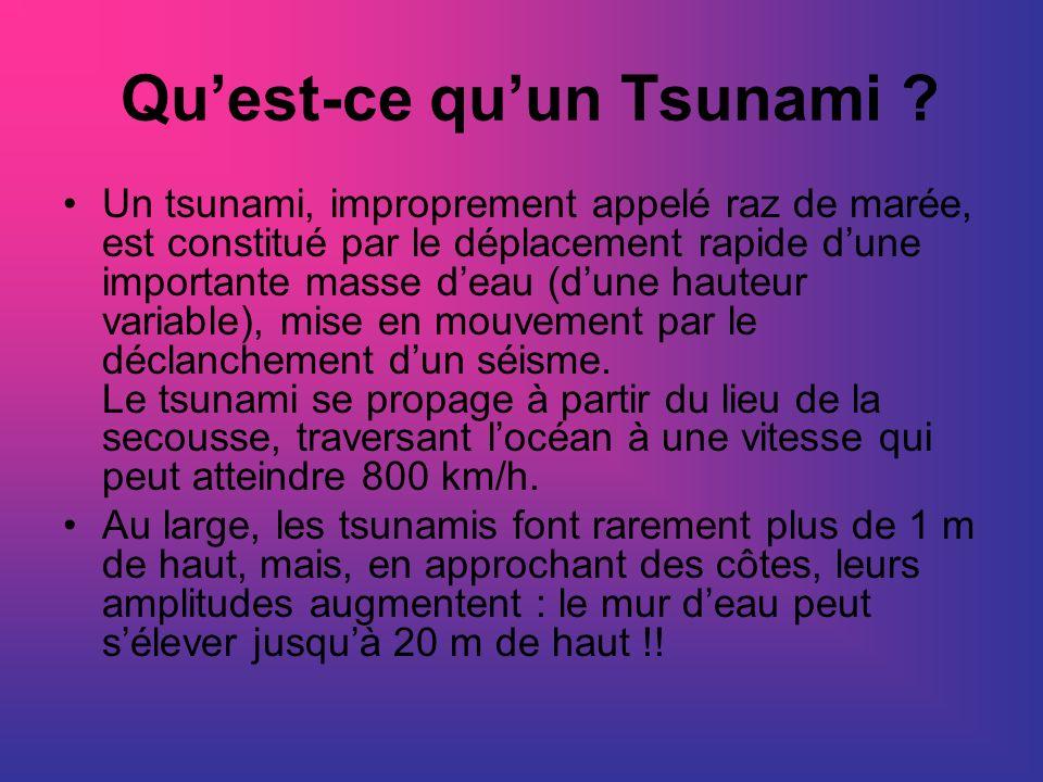 Quest-ce quun Tsunami ? Un tsunami, improprement appelé raz de marée, est constitué par le déplacement rapide dune importante masse deau (dune hauteur