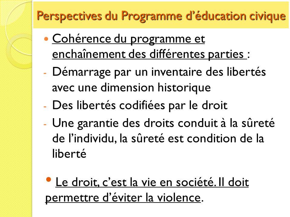 Perspectives du Programme déducation civique Cohérence du programme et enchaînement des différentes parties : - Démarrage par un inventaire des libert