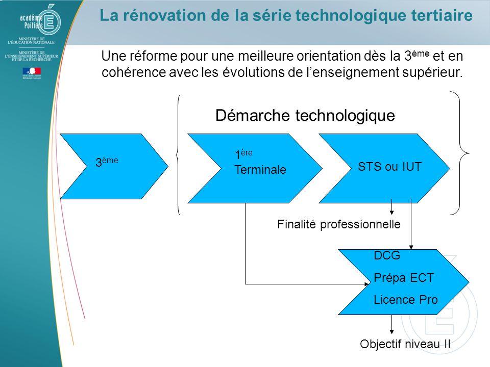 La rénovation de la série technologique tertiaire Une réforme pour une meilleure orientation dès la 3 ème et en cohérence avec les évolutions de lense