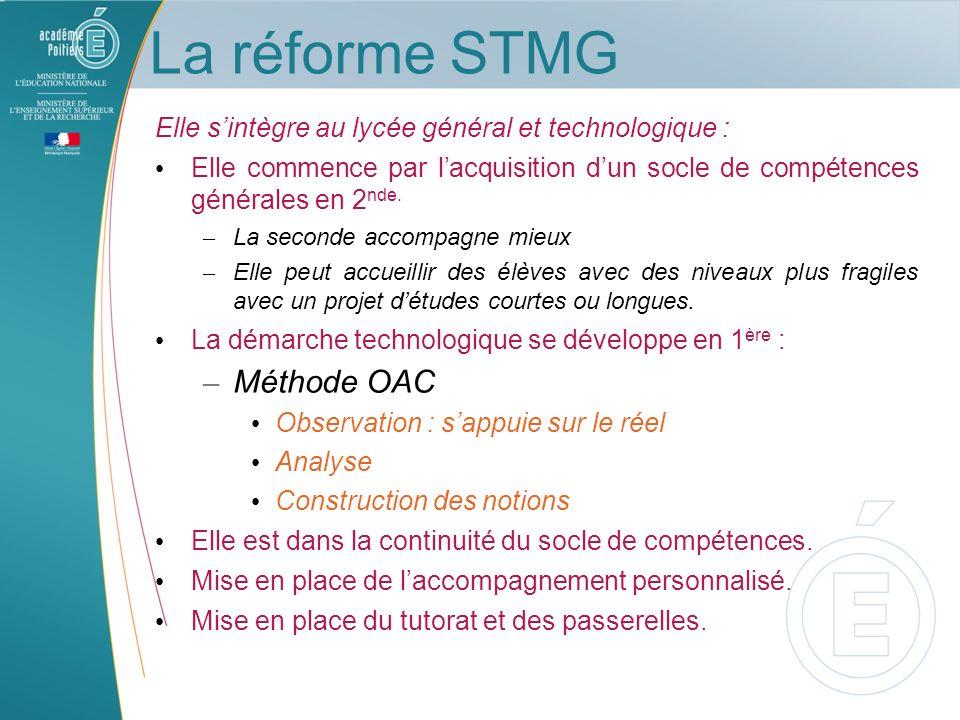 La réforme STMG Elle sintègre au lycée général et technologique : Elle commence par lacquisition dun socle de compétences générales en 2 nde. – La sec