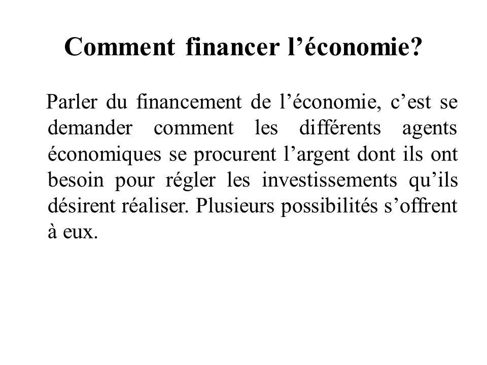 Comment financer léconomie? Parler du financement de léconomie, cest se demander comment les différents agents économiques se procurent largent dont i