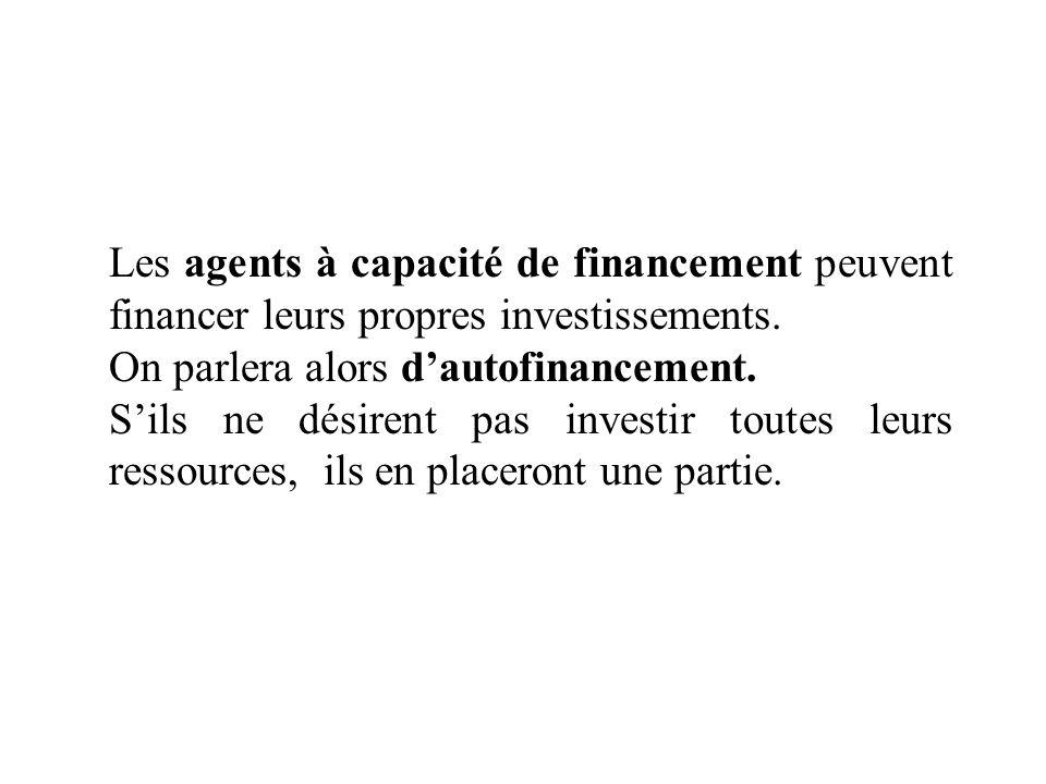 Les agents à capacité de financement peuvent financer leurs propres investissements. On parlera alors dautofinancement. Sils ne désirent pas investir