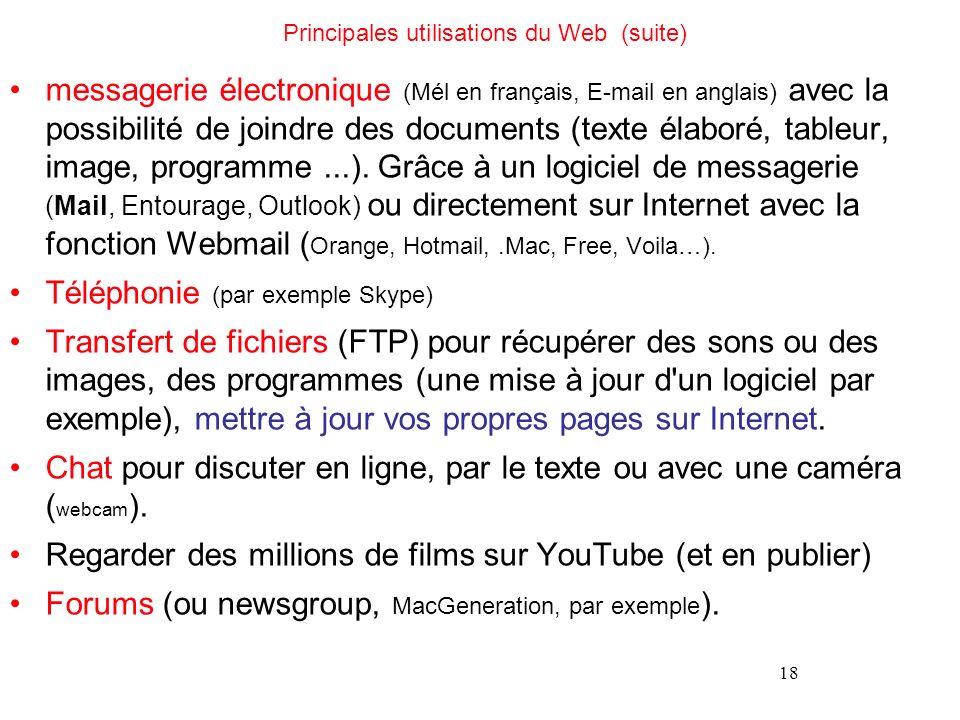 18 Principales utilisations du Web (suite) messagerie électronique (Mél en français, E-mail en anglais) avec la possibilité de joindre des documents (