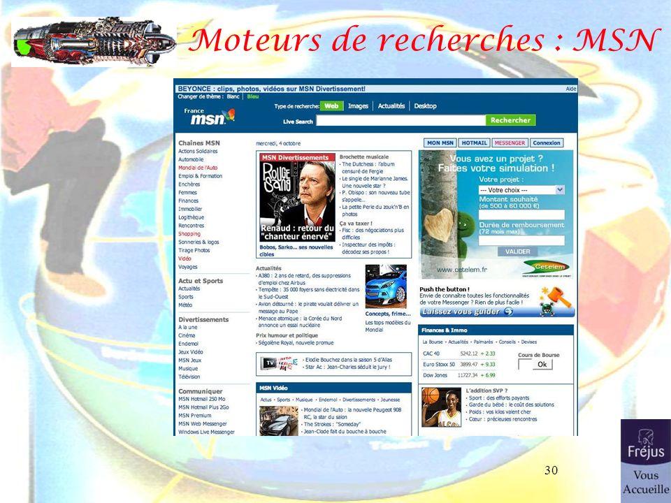 30 Moteurs de recherches : MSN