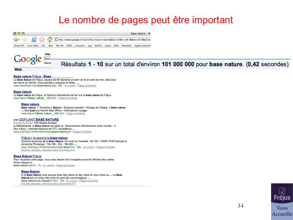 34 Le nombre de pages peut être important