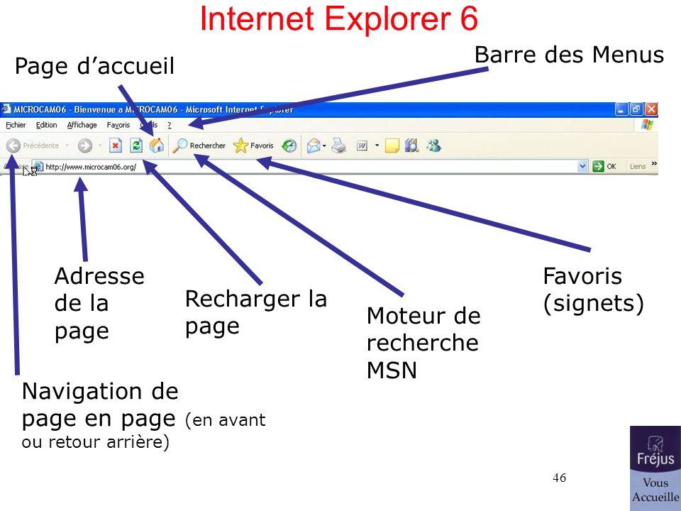 46 Internet Explorer 6 Barre des Menus Navigation de page en page (en avant ou retour arrière) Page daccueil Moteur de recherche MSN Recharger la page