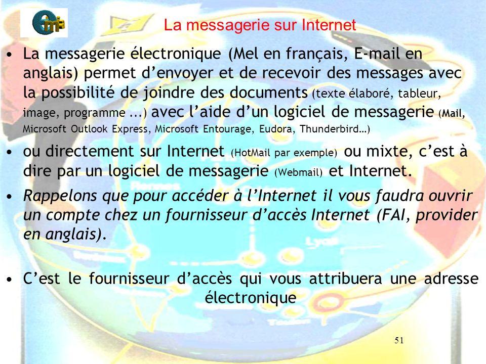 51 La messagerie sur Internet La messagerie électronique (Mel en français, E-mail en anglais) permet denvoyer et de recevoir des messages avec la poss