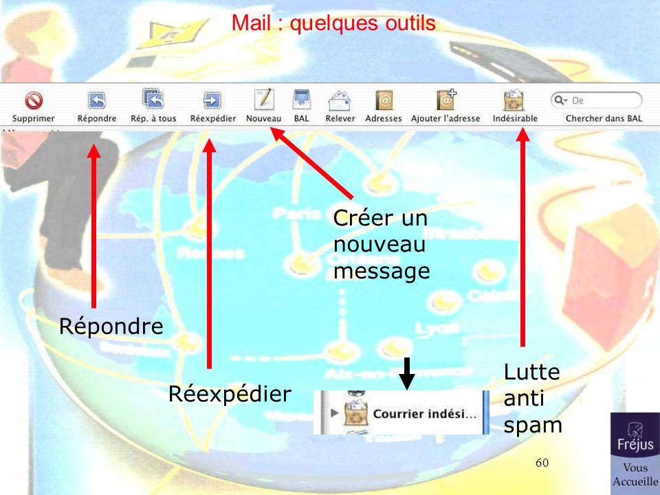 60 Mail : quelques outils Répondre Réexpédier Créer un nouveau message Lutte anti spam