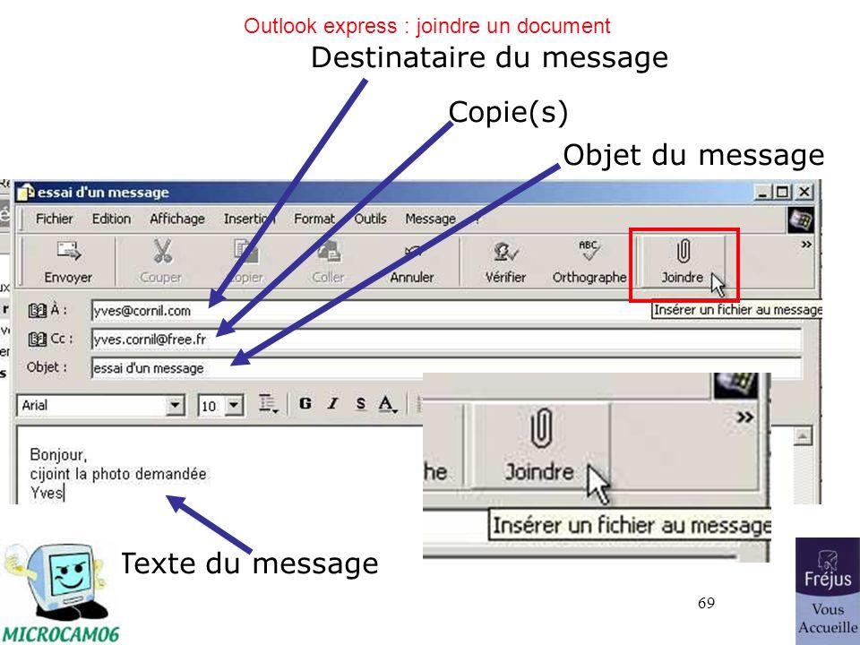69 Outlook express : joindre un document Destinataire du message Copie(s) Objet du message Texte du message