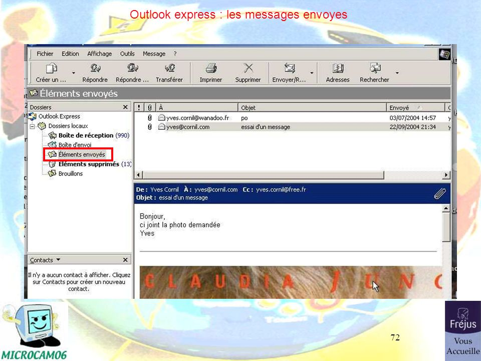 72 Outlook express : les messages envoyes