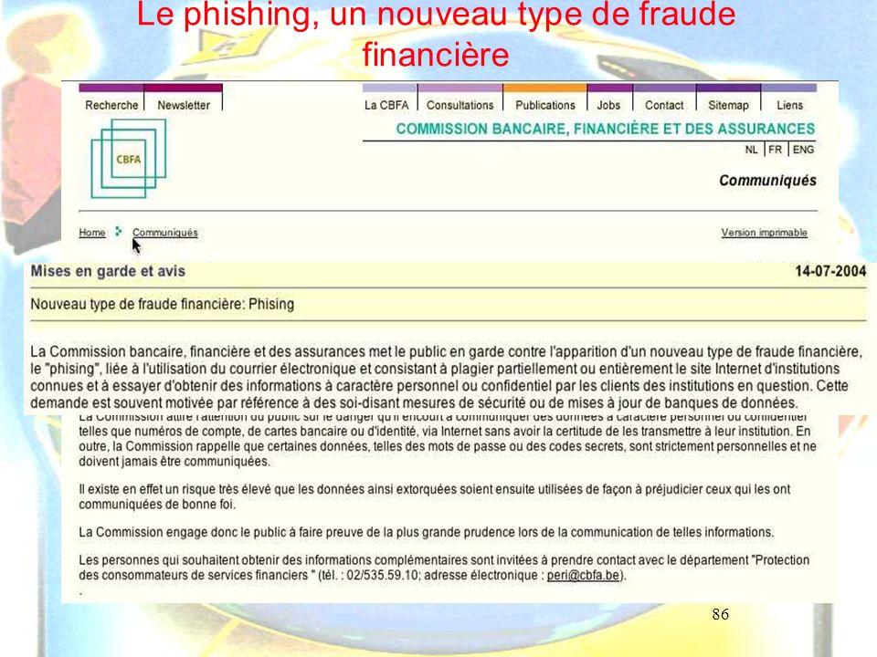 86 Le phishing, un nouveau type de fraude financière