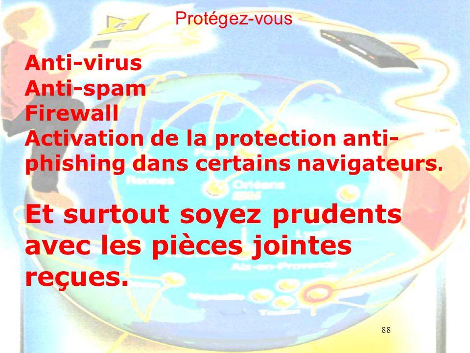 88 Protégez-vous Anti-virus Anti-spam Firewall Activation de la protection anti- phishing dans certains navigateurs. Et surtout soyez prudents avec le