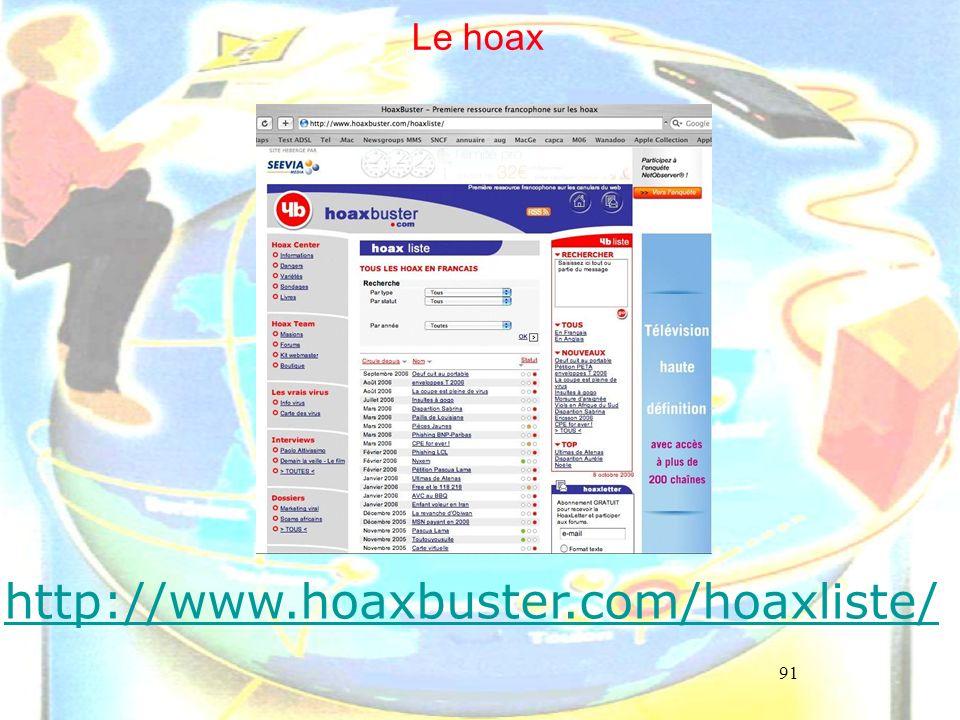 91 Le hoax http://www.hoaxbuster.com/hoaxliste/