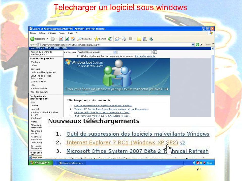 97 Telecharger un logiciel sous windows