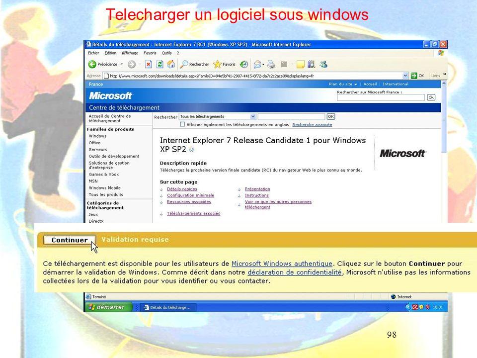 98 Telecharger un logiciel sous windows