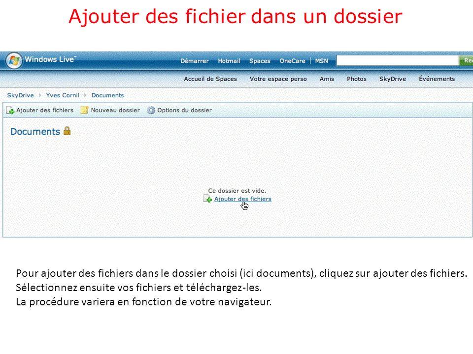 Ajouter des fichier dans un dossier Pour ajouter des fichiers dans le dossier choisi (ici documents), cliquez sur ajouter des fichiers.
