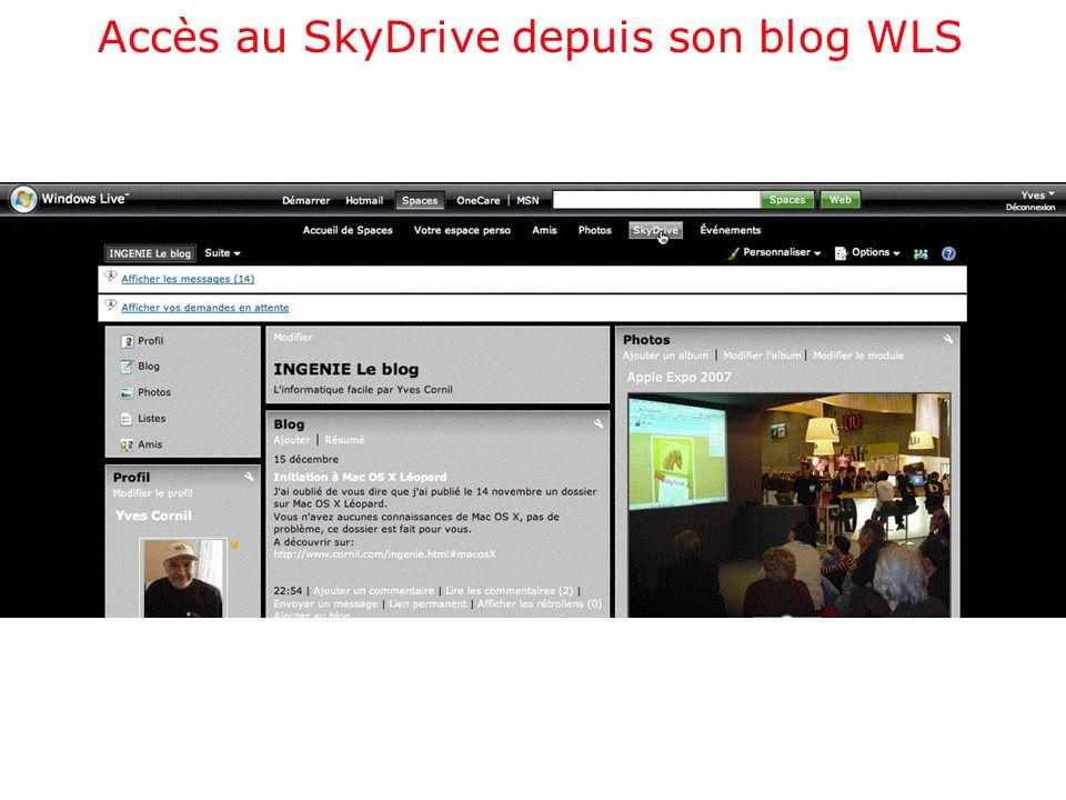 Accès au SkyDrive depuis son blog WLS