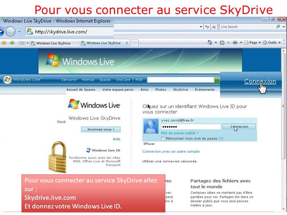 Pour vous connecter au service SkyDrive Pour vous connecter au service SkyDrive allez sur : Skydrive.live.com Et donnez votre Windows Live ID.