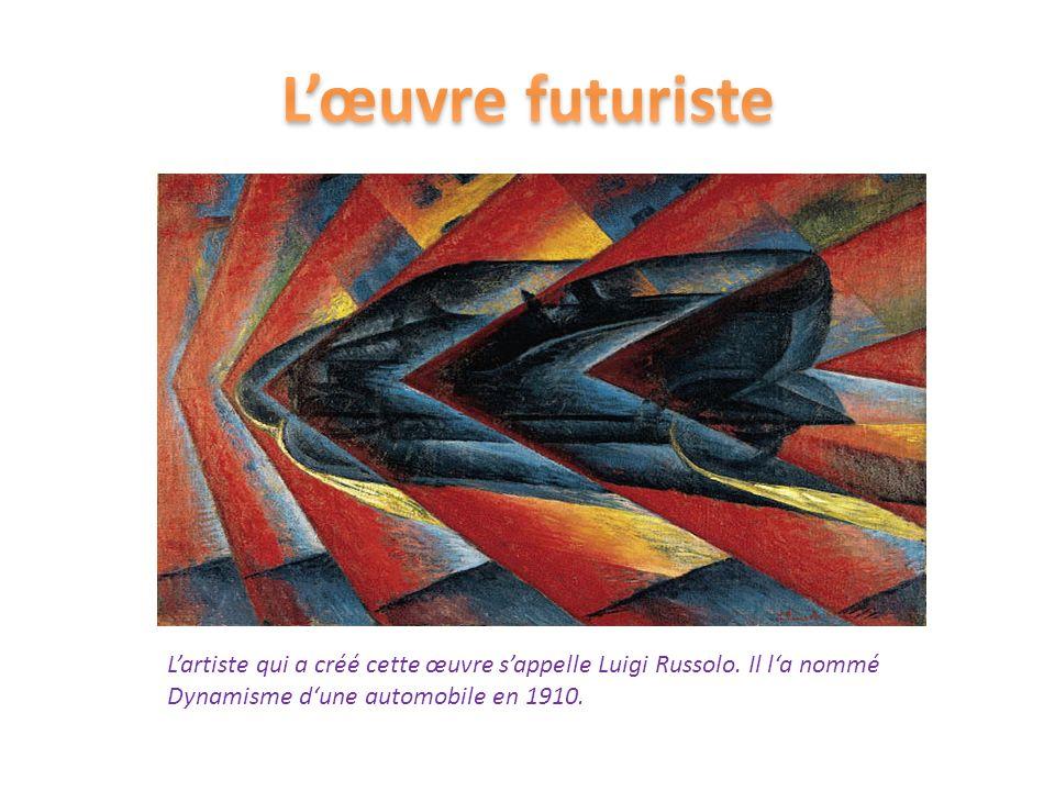 Lartiste qui a créé cette œuvre sappelle Luigi Russolo. Il la nommé Dynamisme dune automobile en 1910.