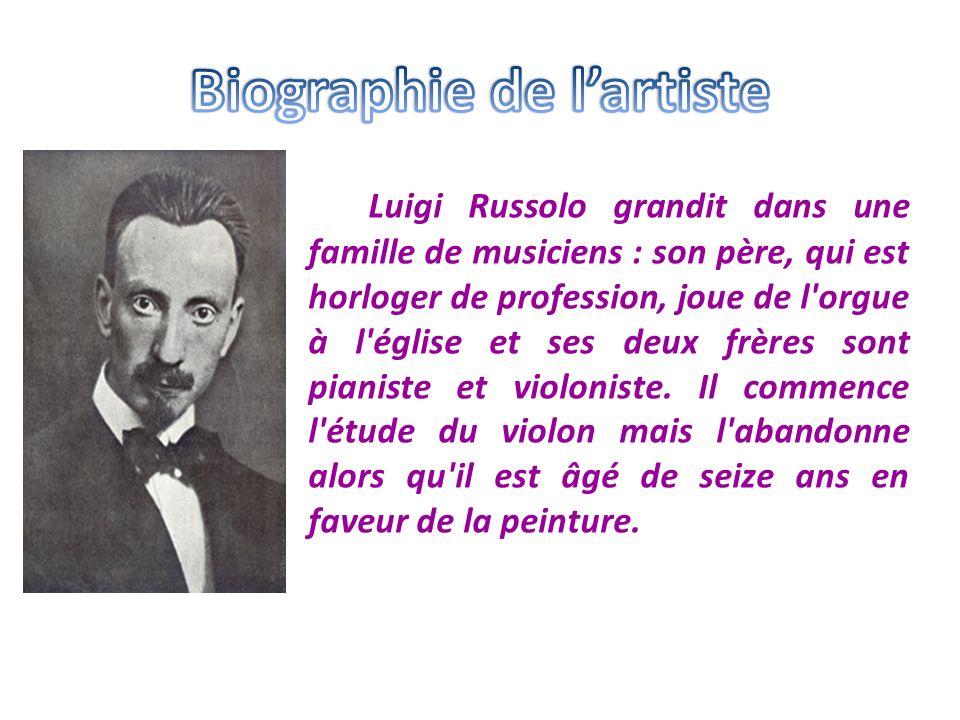 Luigi Russolo grandit dans une famille de musiciens : son père, qui est horloger de profession, joue de l'orgue à l'église et ses deux frères sont pia