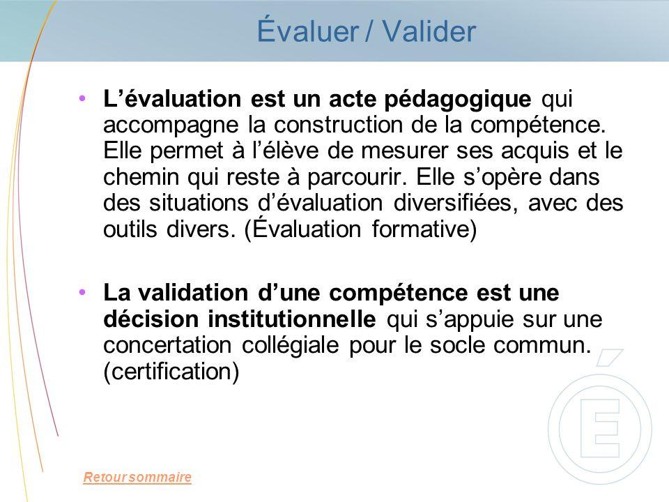 Évaluer / Valider Lévaluation est un acte pédagogique qui accompagne la construction de la compétence. Elle permet à lélève de mesurer ses acquis et l