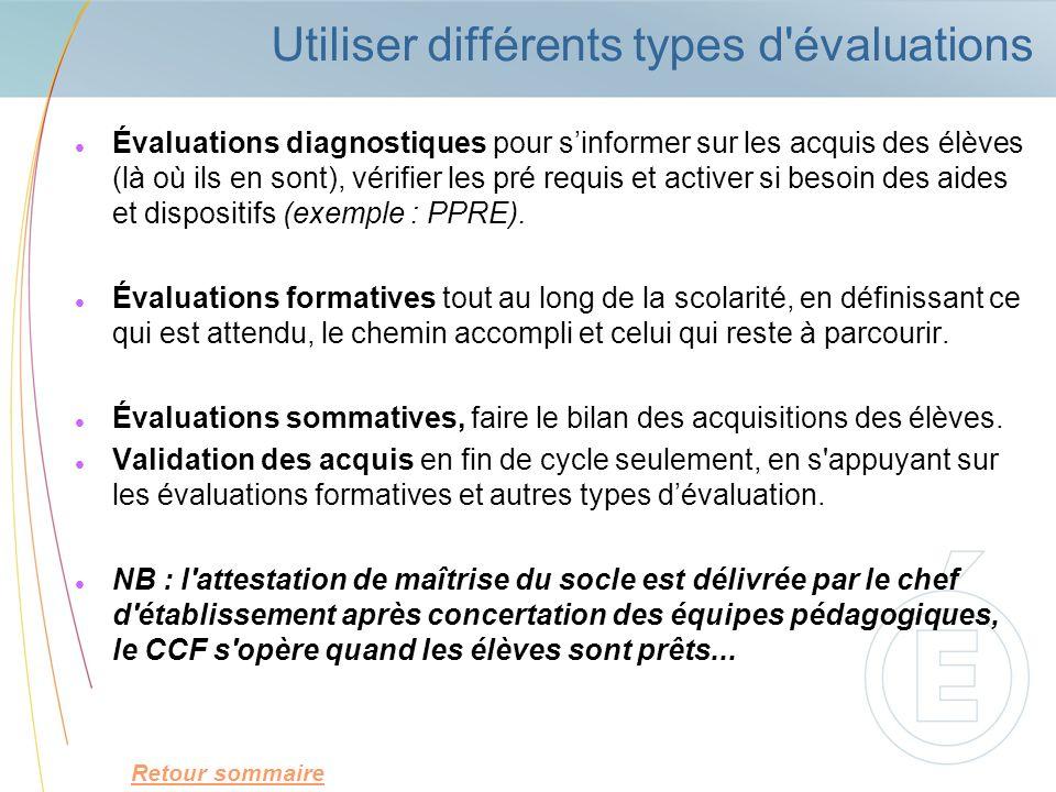 Utiliser différents types d'évaluations Évaluations diagnostiques pour sinformer sur les acquis des élèves (là où ils en sont), vérifier les pré requi