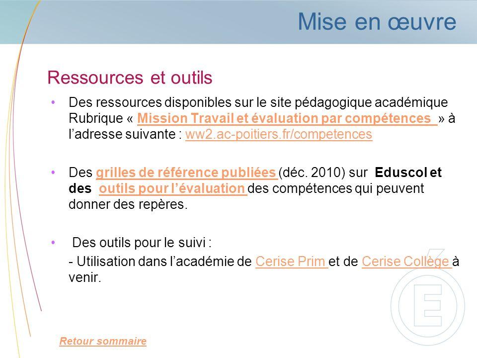 Ressources et outils Des ressources disponibles sur le site pédagogique académique Rubrique « Mission Travail et évaluation par compétences » à ladres