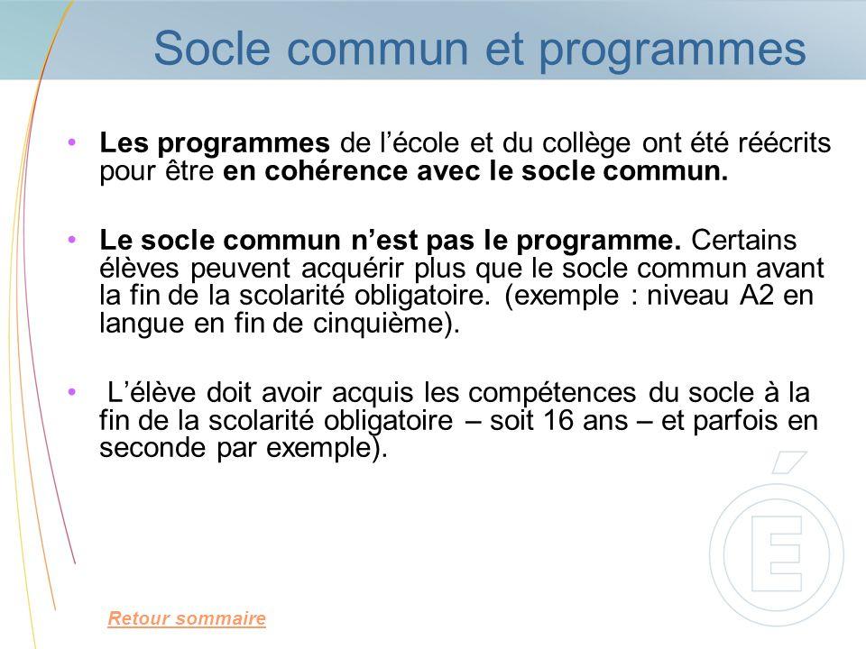 Socle commun et programmes Les programmes de lécole et du collège ont été réécrits pour être en cohérence avec le socle commun. Le socle commun nest p