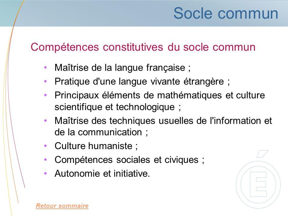 Socle commun Maîtrise de la langue française ; Pratique d'une langue vivante étrangère ; Principaux éléments de mathématiques et culture scientifique