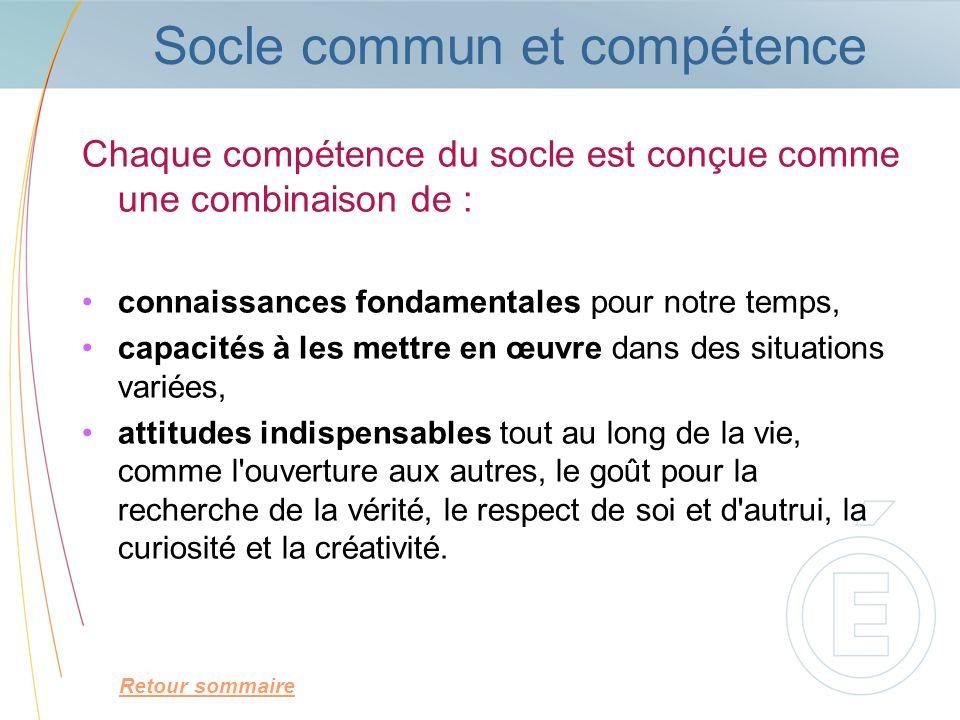 Socle commun et compétence Chaque compétence du socle est conçue comme une combinaison de : connaissances fondamentales pour notre temps, capacités à