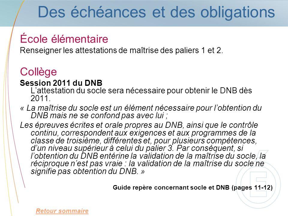 Des échéances et des obligations École élémentaire Renseigner les attestations de maîtrise des paliers 1 et 2. Collège Session 2011 du DNB Lattestatio