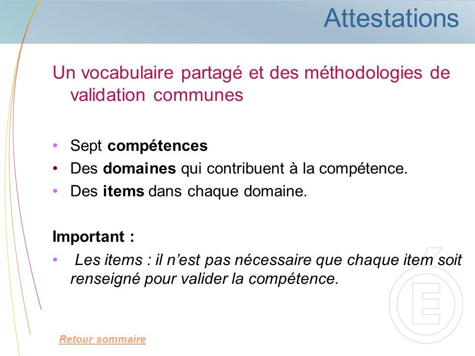 Attestations Un vocabulaire partagé et des méthodologies de validation communes Sept compétences Des domaines qui contribuent à la compétence. Des ite