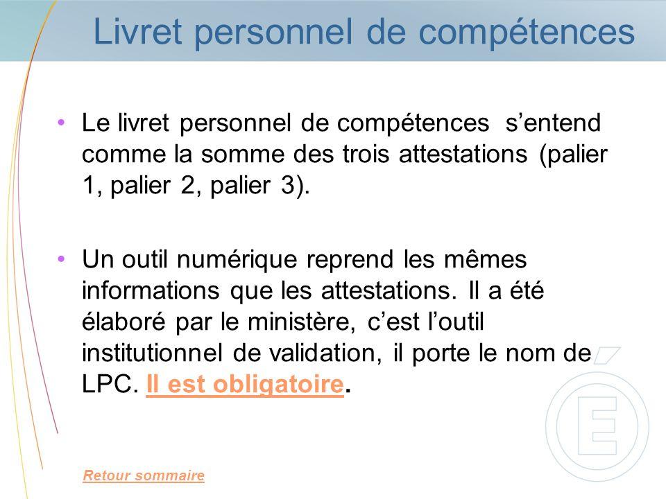 Livret personnel de compétences Le livret personnel de compétences sentend comme la somme des trois attestations (palier 1, palier 2, palier 3). Un ou