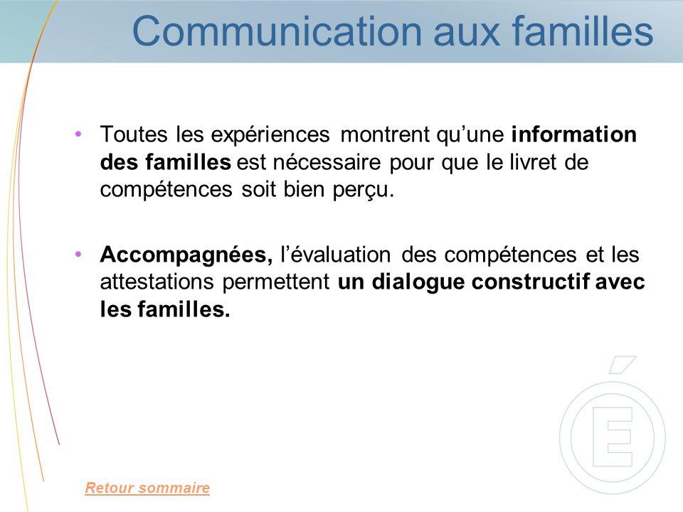 Communication aux familles Toutes les expériences montrent quune information des familles est nécessaire pour que le livret de compétences soit bien p