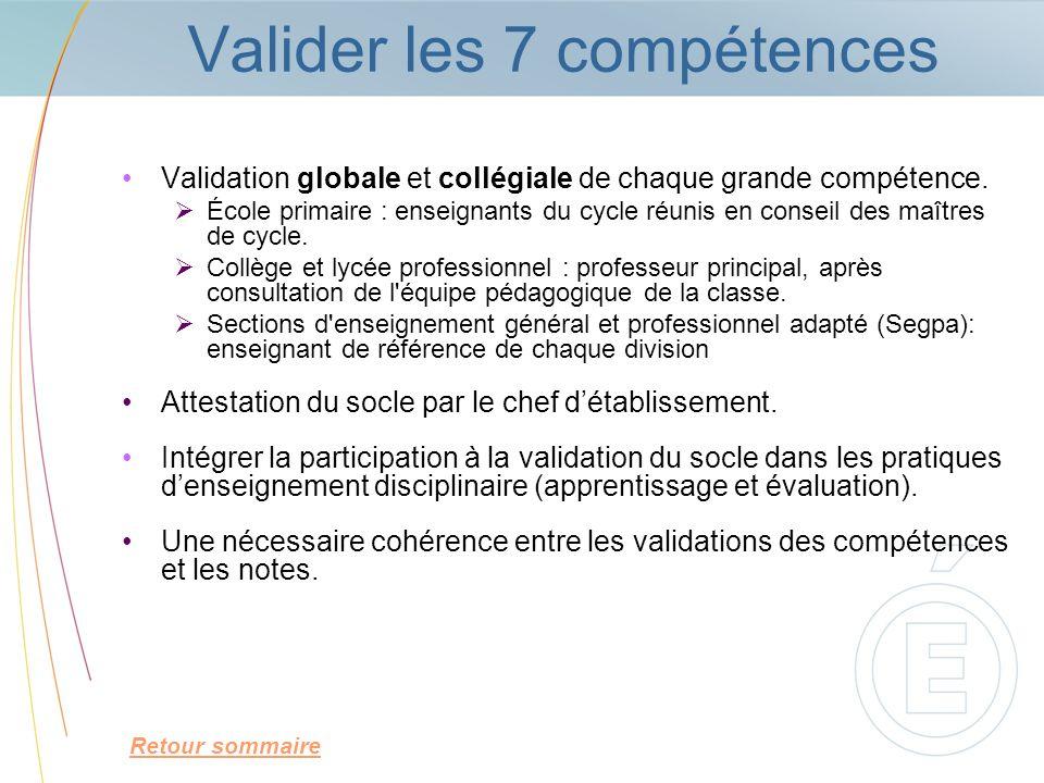 Valider les 7 compétences Validation globale et collégiale de chaque grande compétence. École primaire : enseignants du cycle réunis en conseil des ma