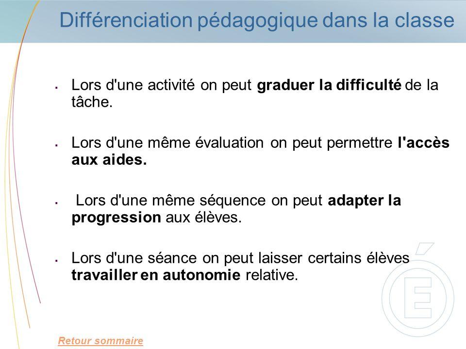Différenciation pédagogique dans la classe Lors d'une activité on peut graduer la difficulté de la tâche. Lors d'une même évaluation on peut permettre